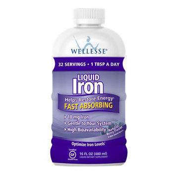 Wellesse Liquid Fast Absorbing Iron Supplement, Natural Berry Flavor - 16 oz, 6 Pack