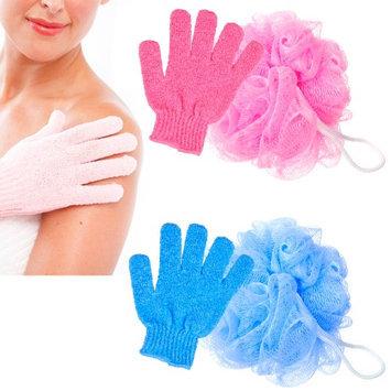 Alltopbargains 2 Pc Shower Bath Glove Ball Wash Skin Spa Massage Scrub Loofah Body Scrubber New