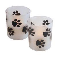 LumaBase LED Glass Paw Print Candles