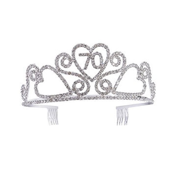Frcolor 70th Birthday Tiara Rhinestone Birthday Crown 70th Happy Birthday Headband with Hair Combs