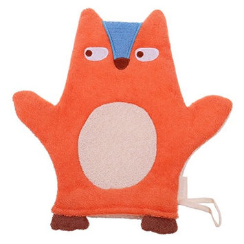 JUNKE Soft Baby Bath Glove Towel Cute Cartoon Puppet Orange Fox Shaped Shower Wash Mitts for Newborn Toddler Kids Children