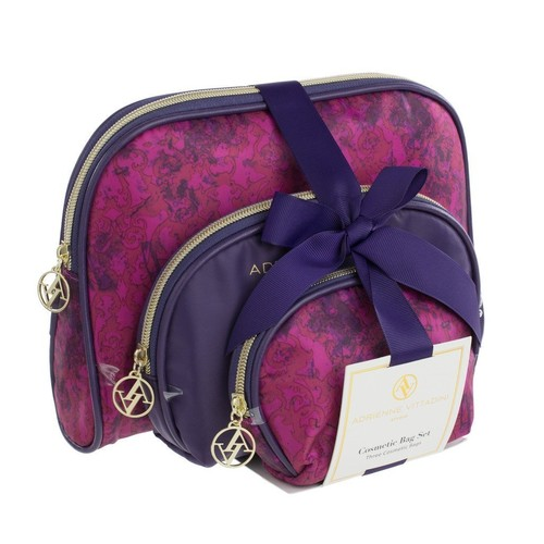 Adrienne Vittadini Set of 3 Dome Cosmetic Cases Purple Damask
