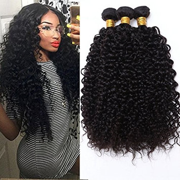 Haever Hair Brazilian Curly Hair Extensions 3 Bundles Cheap Brazilian Kinlky Curly Virgin Hair 8A Cheap Unprocessed Human Hair weave(8 10 12 inches)