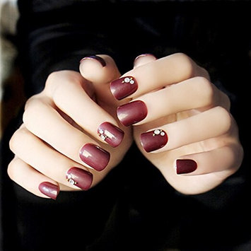 Yean 24 Pcs False Nail Vintage Wine Red Short Square Glossy Bridal Fake Nail Tips with Rhinestones - Nail strips Finger Decoration with Glue and Adhesive Tab for women and girls