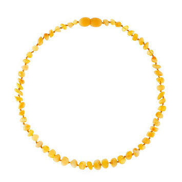 Baltic Amber Teething Necklace For Babies (Unisex) (Raw Milky) - Anti Inflammatory, Drooling & Teething Pain Reduce Properties - Natural Certificated Oval Baltic Jewelry with the Highest Quality