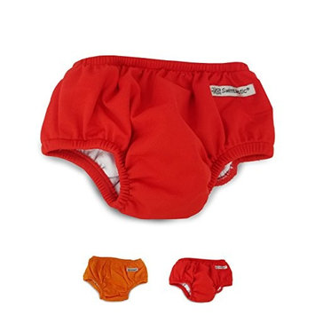 Swimtastic Baby Swim Diapers, Reusable Infant Diaper Trunks, Red, Small