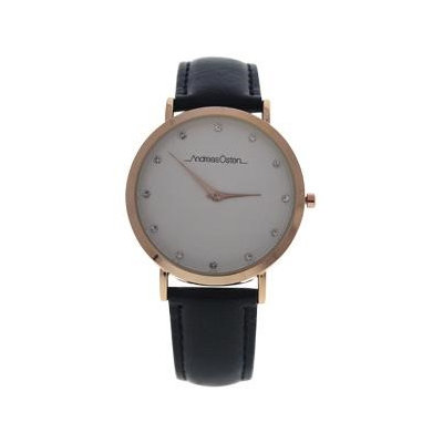 Andreas Osten Ao-13 Klassisk - Rose Gold/Black Leather Strap Watch Watch For Women 1 Pc