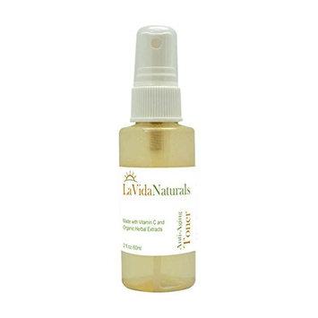 La Vida Anti-Aging Spray Facial Toner- Tones Skin, Tightens, Reduces Fine Lines, 95% organic. Vitamin C,,MSM,Glycolic Acid,Green Tea, Essential Oils