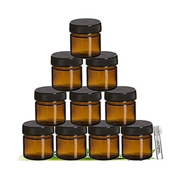 Perfume Studio­® Amber Glass Jar Set with Black Screw Lids For Cosmetics, Ointments, Salves, Skincare, Storage & More (25 ml - 10 Jars), Complimentary Sample Oil Inncluded