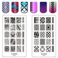Ejiubas Stamping Plates Nail Art Plates The Abstract Lines Nail Art Stamping Manicure Tools Double-sided 1 Count 2 Sides