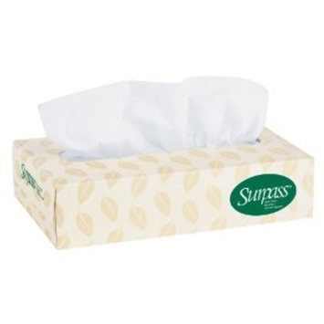 Surpass 100% Recycled Fiber Facial Tissue Flat Box (21285), 2-Ply, White, Unscented, 125 Tissues / Box, 60 Boxes / Big Case