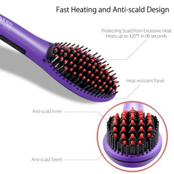 Hair Brush Straightener by Zodaca Hair Straightener Brush Detangling Straightening Straight Hair Styling Comb Electric Iron Massager - Purple