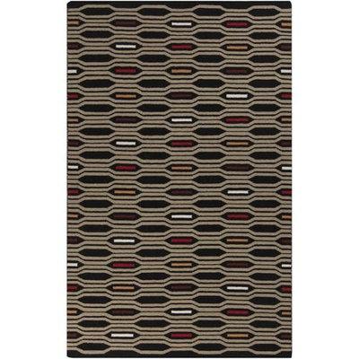 2.5' x 8' Honeycomb Bliss Tan and Burgundy Hand Woven Wool Area Throw Rug