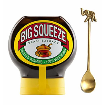 Marmite Big Squeeze 400g (MARMITE Big Squeeze Vegan Spread (400g) with a Beautiful Handmade Antique Brass Condiment Spoon)