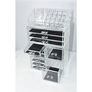 Unique Home Makeup Cosmetic Organizer Conceal/Lipstick/Eyeshadow/Brushes in One place Storage Drawers, Clear, X-Large, 4 Piece Set