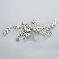 Silver Rhinestones and Crystal Wedding Combs Handmade Jewelry for Bridal