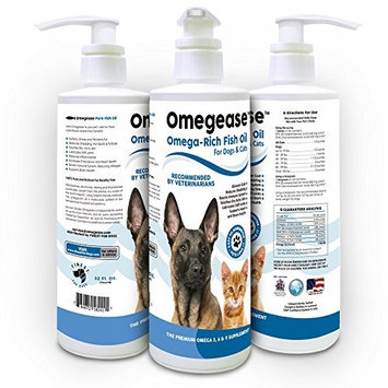 100% Pure Omega 3, 6 & 9 Fish Oil for Dogs and Cats - Best For Scratching, Joint Pain, Skin & Coat, Immune & Heart Health. All Natural EPA + DHA Fatty Acids. Made in USA [New Design]