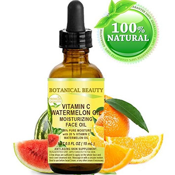 VITAMIN C WATERMELON OIL. Moisturizing Face Oil. Anti-aging, regenerating and nourishing. 20% Vitamin C and 100% Pure Watermelon Seed Oil. 0.5 Fl. Oz - 15 ml. by Botanical Beauty.