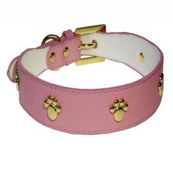 Sassy Dog Wear LEATHER PAW PINK3-C Leather Dog Collar, Pink - Medium