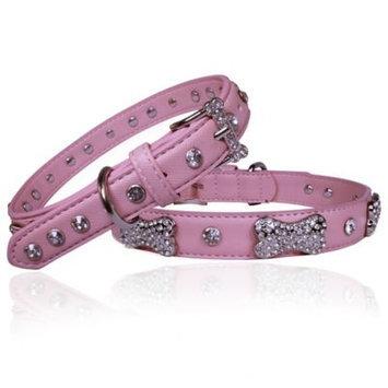 Vanderpump Pets Designer Diamond and Bone Leatherette Collar Pink