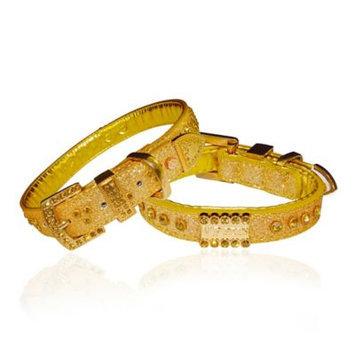 Vanderpump Pets Signature Diamond Name Plate Leatherette Collar Gold
