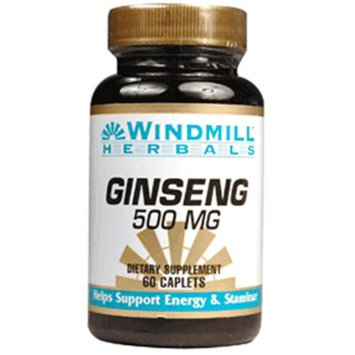 Windmill Ginseng 500 mg Caplets 60 ea (Pack of 6)