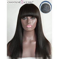 Chantiche® Silk Top Spinning Hair Whorl Light Yaki Straight None Lace Wigs With Bangs For Black Women Natural Looking Glueless Indian Remy Human Hair Replacement Full Wig 16Inch #1B