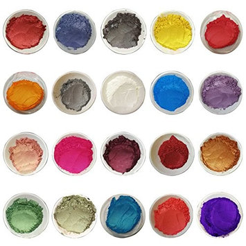 Fabura [20 Colorant Packs 100g/3.53oz Each] 2kg Cosmetic Grade Natural Mica Powder Pigment Set - Non Toxic Pearl Color Dyes