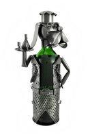 Zeckos Dog Chef Serving Wine Metal Sculpture Wine Bottle Display