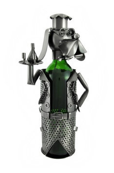 Zeckos Dog Chef Serving Wine Metal Sculpture Wine Bottle Display