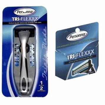 Men's Personna Tri-Flexxx Razor Blade Handle w/ 2 cartridges + Personna Tri-flexxx Triple Blade Refill Cartridges for Men 4 ct. + Facial Hair Remover Spring