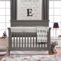 Liz and Roo 4-Piece Grey Elephant Crib Bedding Set