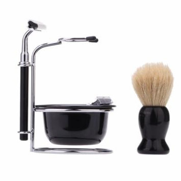 4 In 1 Men's Manual Razor Set Beard Razor Male Facial Cleaning Tool Shaving Brush Bowl Stainess Steel Stand Holder 5 Blades Wet Shaving