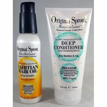 Original Sprout Duo Tahitian Hair Oil 4 Ounce, Deep Conditioner 4 Ounce