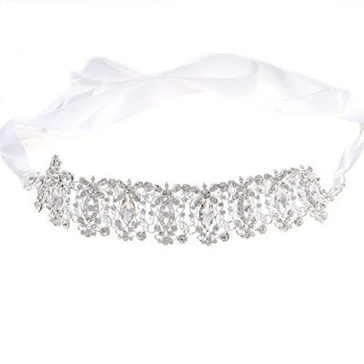 Weddingtopia Bridal Luxury Rhinestone Wedding Hairband Hairpiece Hair Accessories for Wedding, Prom, Birthday Party with Lace Ribbon (SILVER CLEAR)