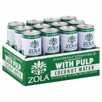Zola Coconut Water With Pulp, 17.5 Fluid Ounce (12 Pack)