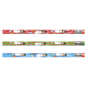 Moon Products Decorated Wood Pencil, Snowman, HB #2, Assorted, Dozen