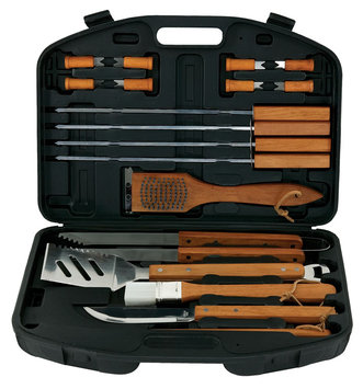 Mr Bar Bq Mr. Bar.B.Q 18 Piece BBQ Tool Set With Plastic Case - 18 Piece(s) - Stainless Steel, Hardwood