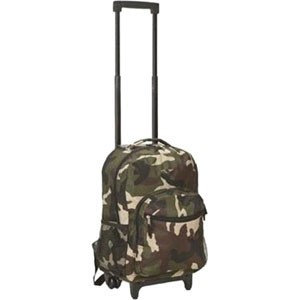 Rockland Carrying Case (Rolling Backpack) for Travel Essential - Polyester - Camo - Shoulder Strap, Handle - 17