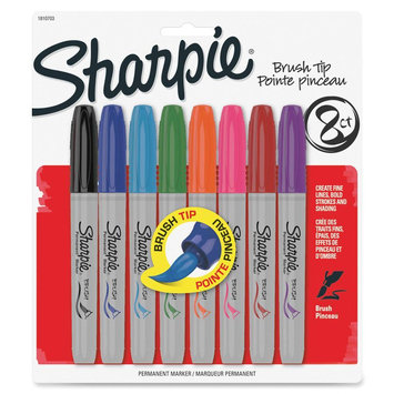 Sharpie Brush Tip Permanent Markers - Brush Marker Point Style - Black, Blue, Green, Magenta, Orange, Purple, Red, Turquoise Ink - 8 / Pack