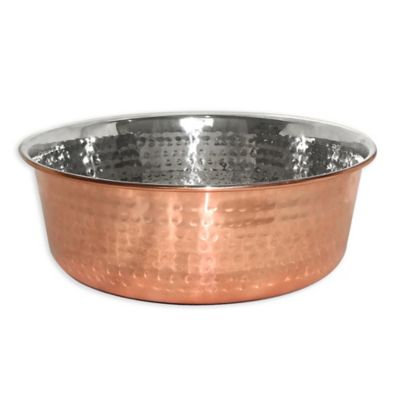 Neater Feeder® 32 oz. Copper-Plated Hammered Stainless Steel Medium Pet Bowl