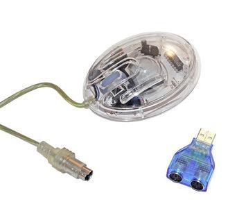Tico Originals Natico Clear Desk Computer Mouse w/Scroll Wheel - Cable - PS/2 - Scroll Wheel - 2 Button(s)