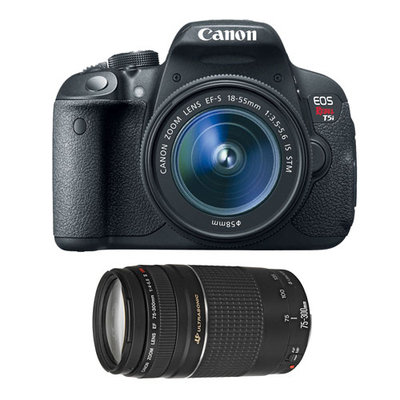 Canon EOS Rebel T5i 18 Megapixel Digital SLR Camera (Body with Lens Kit) - 18mm - 55mm (Lens 1), 75mm - 300mm (Lens 2) - 3 Touchscreen LCD - 3.1x/4x Optical Zoom - 1920 x 1080 Video - HD Movie Mode