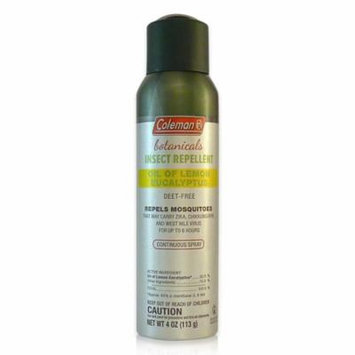 Deet Free Oil of Lemon Eucalyptus, Naturally-based Insect Repellent, Continuous Spray 4 oz. Coleman