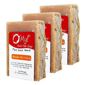 Bundle of 3 O My! Oatmeal, Milk and Honey Goat Milk Soap - All Natural, Palm Oil Free, Handmade Soap Made in USA
