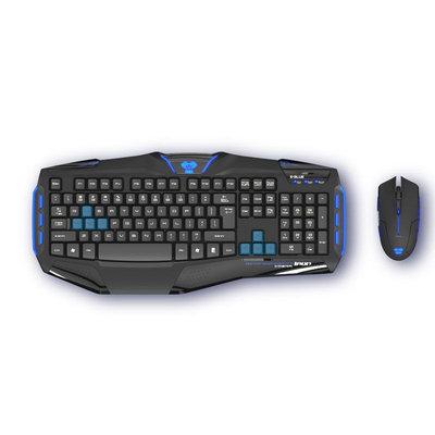 E-blue, Lnc E-Blue Cobra Reinforcment-Iron Gaming Keyboard + Mouse Combo Set - USB Cable Keyboard - 104 Key - Black - USB Cable Mouse - Optical - 1600 dpi - 6 Button - Scroll Wheel - Black