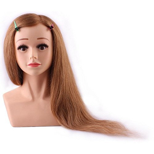 """24""""cosmetology Mannequin Head 100% Human Hair - Brown, Competition Mannequins, Top Quality"""