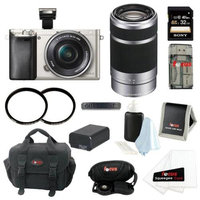 Sony Alpha a6000 ILCE6000LS ILCE6000L/S 24.3 MP Interchangeable Lens Camera with 16-50mm Power Zoom Lens (Silver) + Sony 55-210mm f/4.5-6.3 Telephoto Lens + Sony 32GB SD Card + Two Tiffen UV Filters + Case + Replacement NP-FW50 Battery + Accessory
