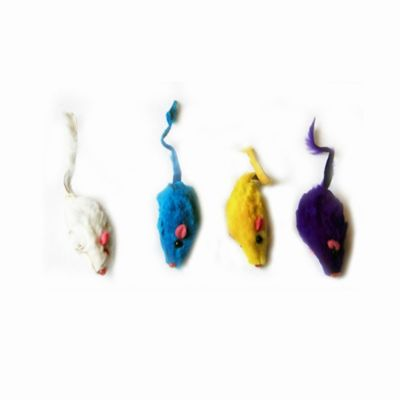J & J International 6 Pack Short Hair Fur Mice - White/Yellow/Purple/Blue - 24 Pieces - 4 Each