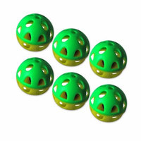 J & J International 6 Pack Two-tone plastic ball with bell - Yellow/Green Pattern - 6 Pieces